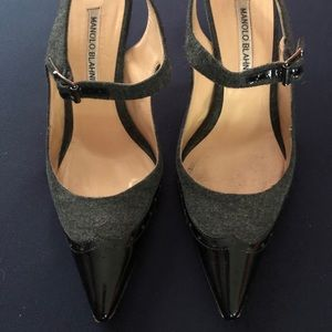 Manolo Blahnik Black Patent/Grey MaryJanes
